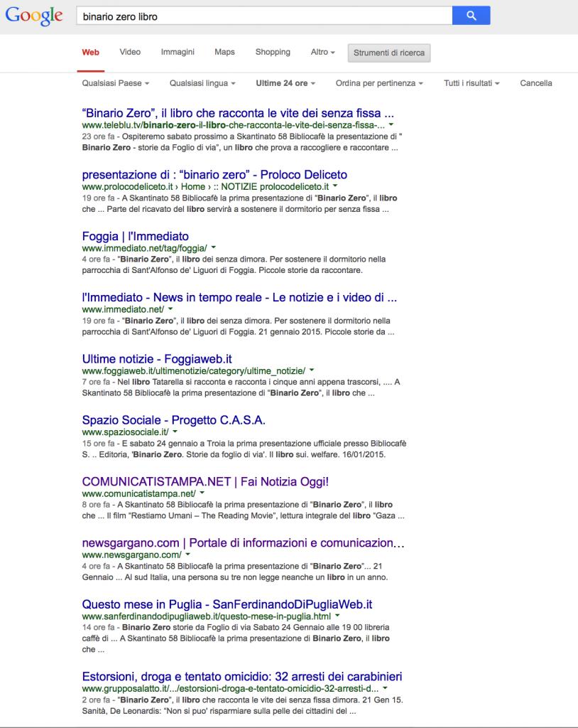 Risultato Promozione Libro con Comunicato Stampa su Google