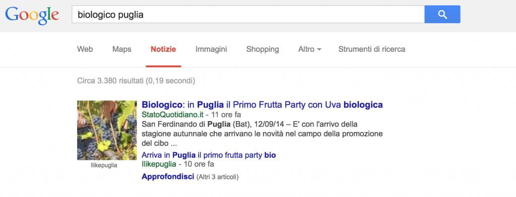 Biologico Puglia - 1a Posizione Google News