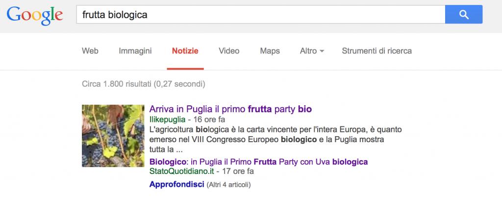 Frutta Biologica - 1a Posizione Google News