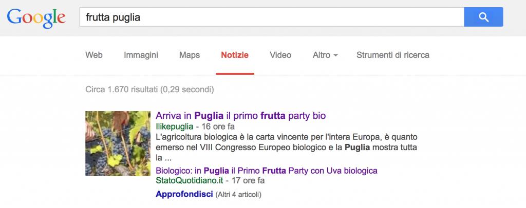 Frutta Puglia - 1a Posizione Google News