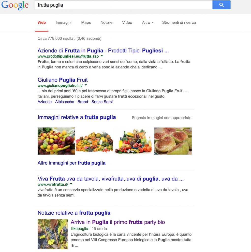 Frutta Puglia - 4a posizione su Google