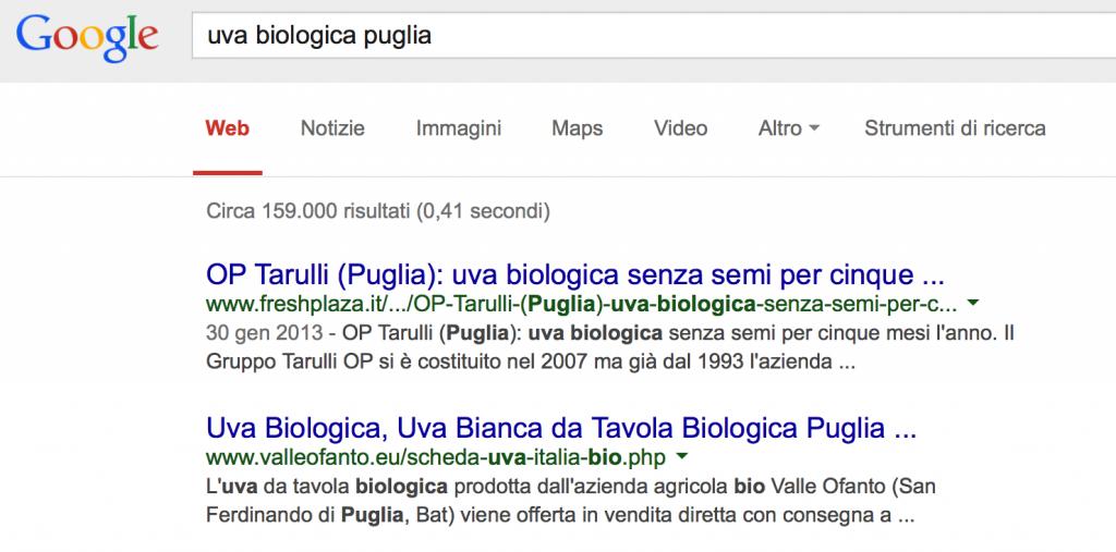 """Posizionamento """"Uva biologica Puglia"""" - 2° posto"""