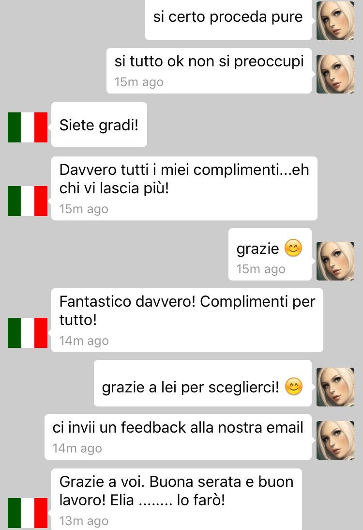 Chat di un cliente super soddisfatto di ComunicatiStampa.net