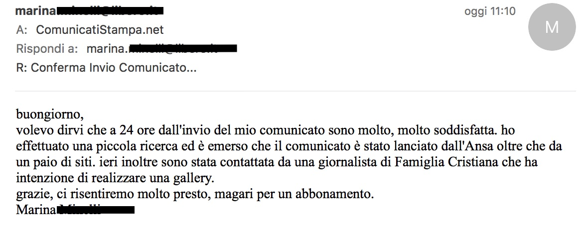 Testimonianza Clienti Opinioni ComunicatiStampa.net