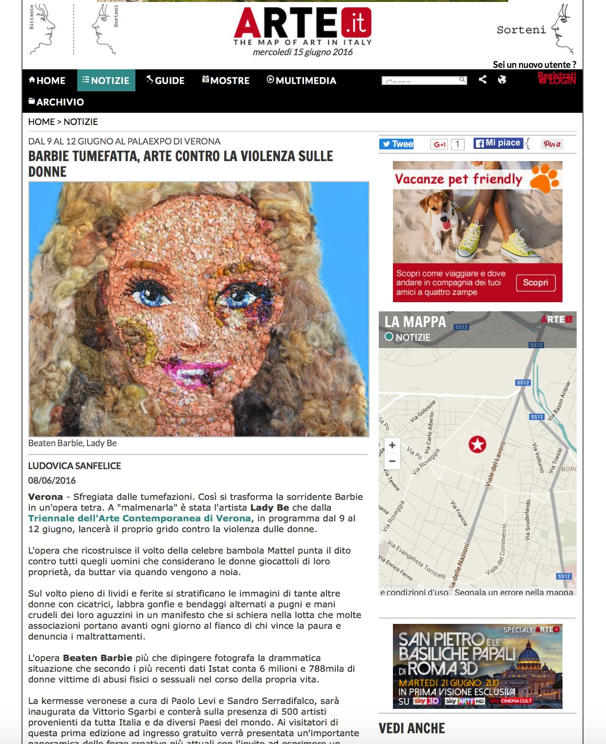 Barbie picchiata su Arte