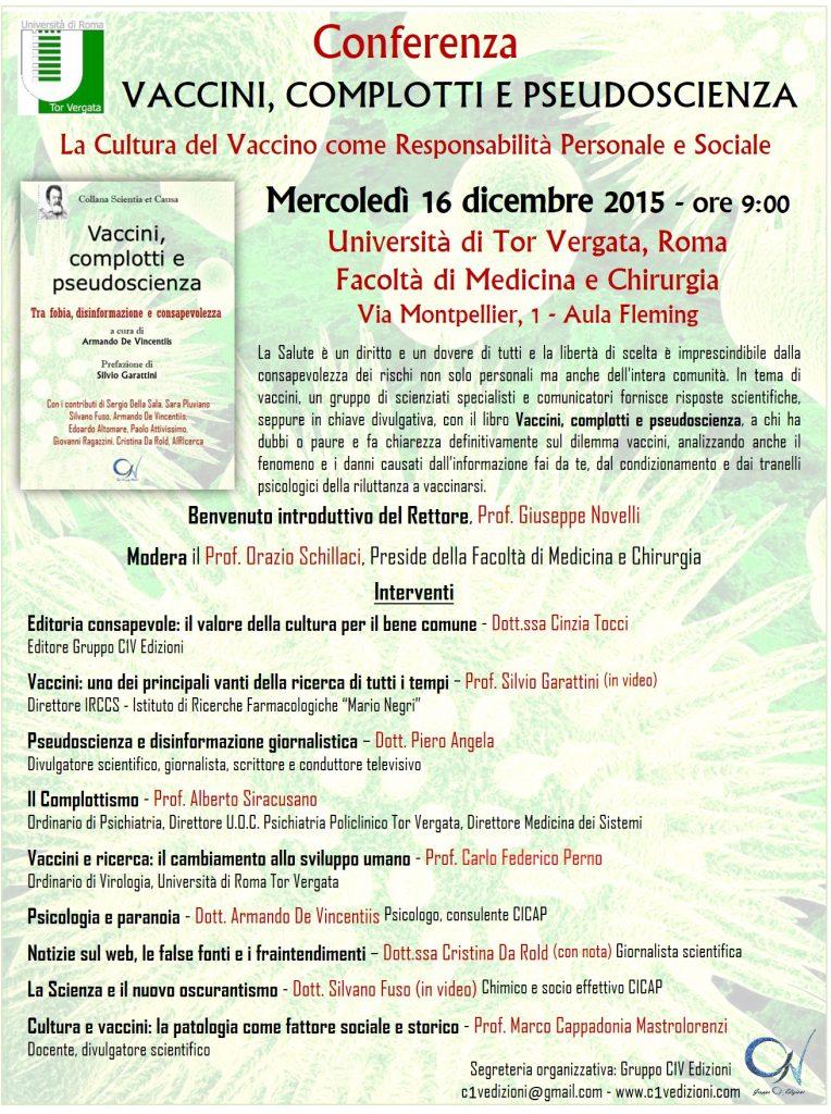"""Calo Vaccinazioni: Programma della Conferenza """"Vaccini, complotti e pseudoscienza"""" all'Università Tor Vergata di Roma"""