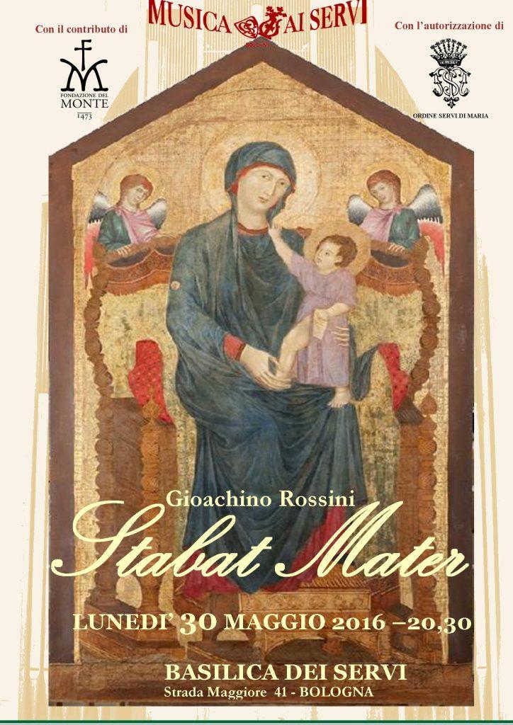 Concerto Stabat Mater di Rossini per la Maestà di Cimabue alla Basilica dei Servi di Bologna dopo il restauro lunedi 30 Maggio ore 20,30 con commento critico a cura di Piero Mioli
