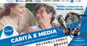 """""""Carità e Media"""" : RAI, TV2000 e le più prestigiose firme della carta stampata a confronto con il mondo del volontariato - Torino, 11 novembre"""