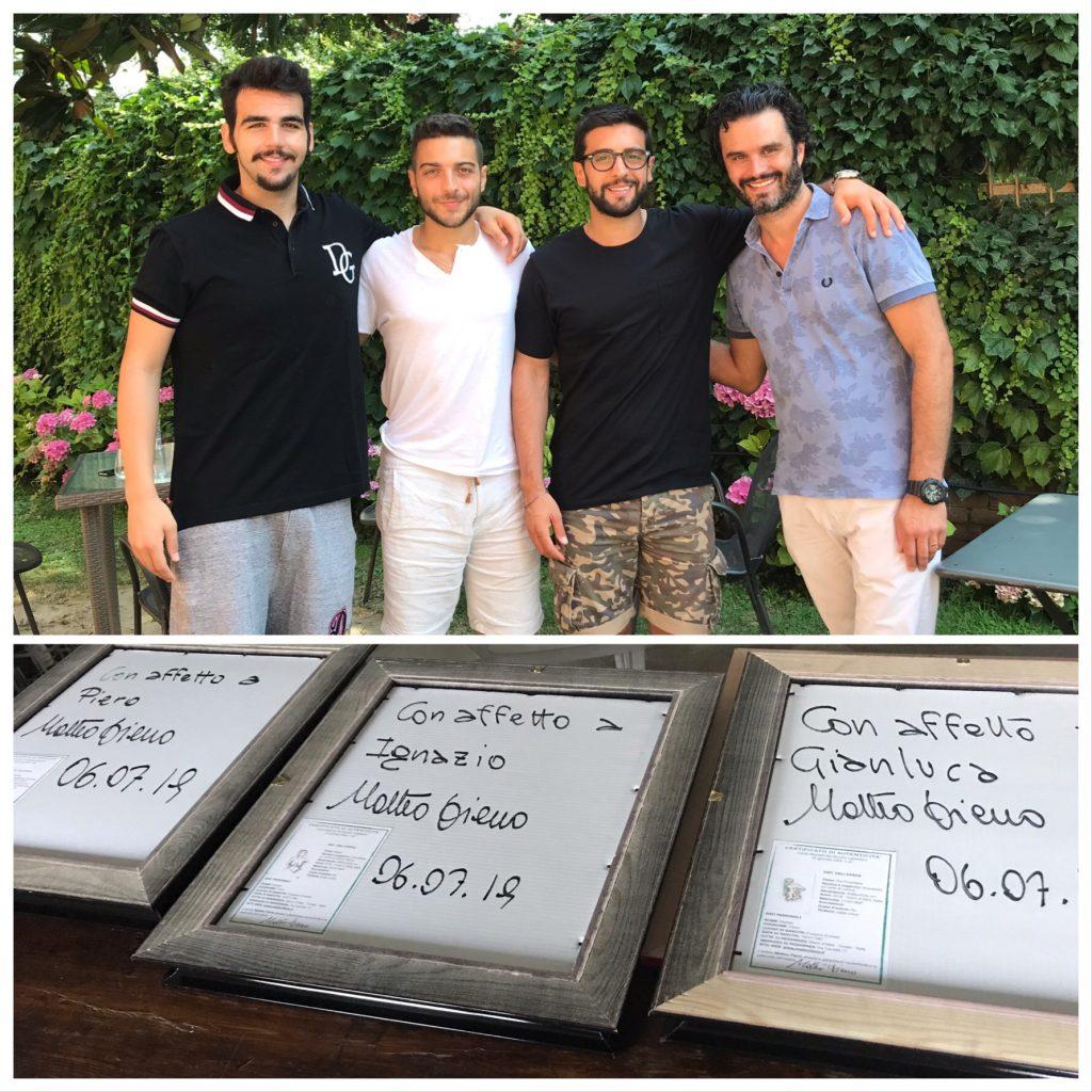 """Matteo Fieno consegna tre opere al celebre gruppo musicale """"Il Volo"""""""
