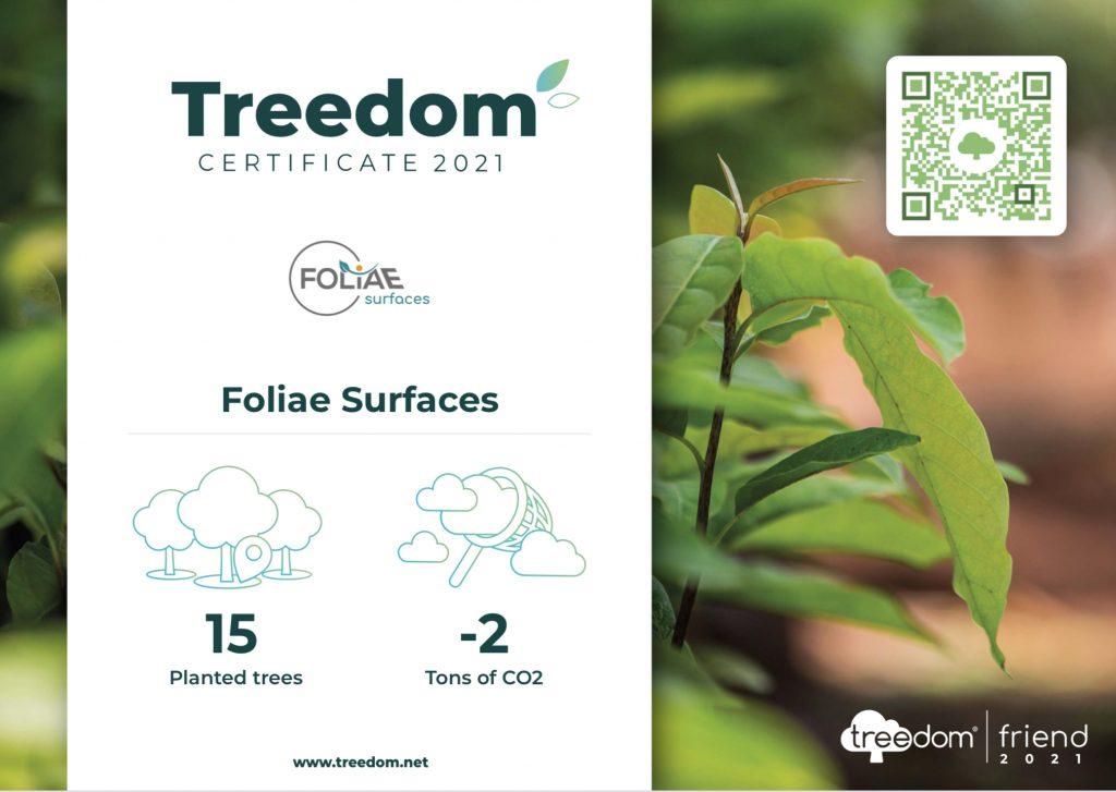 Il Certificato di Riforestazione di Folia Surfaces