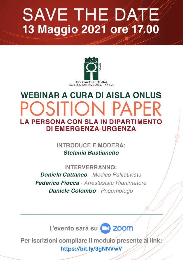 AISLA, il 13 maggio un webinar per le persone con SLA